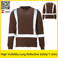 Hi vis  work  brown shirt quick dry birdeye breathable safety reflective T-shirt with reflective stripes free shipping