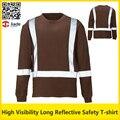 Oi vis camisa de trabalho marrom birdeye quick dry respirável reflexiva da segurança T-shirt com listras refletivas frete grátis