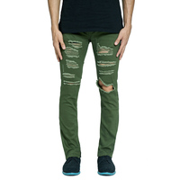 Olive Ripped Side Ankle Zipper Men Jeans Army Green Distressed Destroyed Hip Hop Urban Jeans