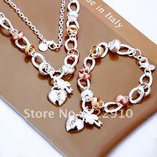 Wholesale 925 silver bracelet, 925 sterling silver jewellery, style jewellery Coronary heart Lock and Flower Key Two-piece Set S010