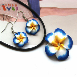 Amgj diy cute hawaii crystal plumeria polymer clay earrings necklace navy blue jewelry sets artificial flower.jpg 250x250