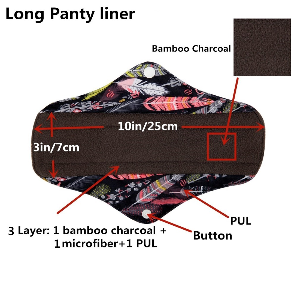 Reusable Washable Panty Liner Cloth Menstrual Sanitary Pad with Bamboo & Charcoal 3