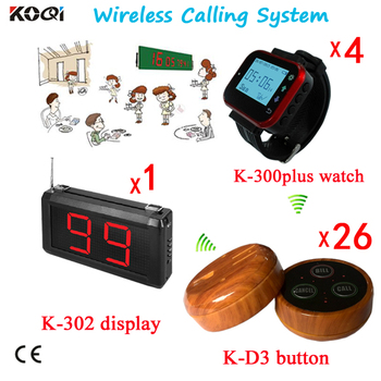 Table Wireless Waiter Call System For Restaurant Equipment 1 Counter Screen,4 Watch with 26 Waiterproof Transmitters