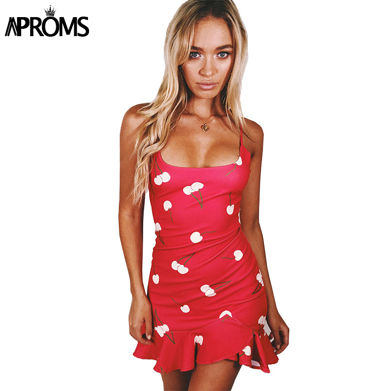 Aproms Ruffles Cherry Print Mini Dress Women Elegant Wide Scoop Summer Short Dresses Female Red Bodycon Dress Sundress Vestidos