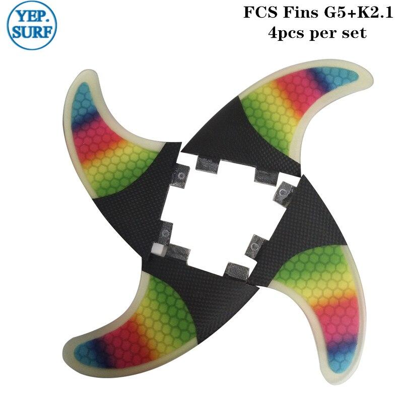 FCS ailerons Fibre de carbone arc-en-ciel SUP G5 + K2.1 planche de surf Fin Quilhas FCS Quad aileron Set propulseur nid d'abeille