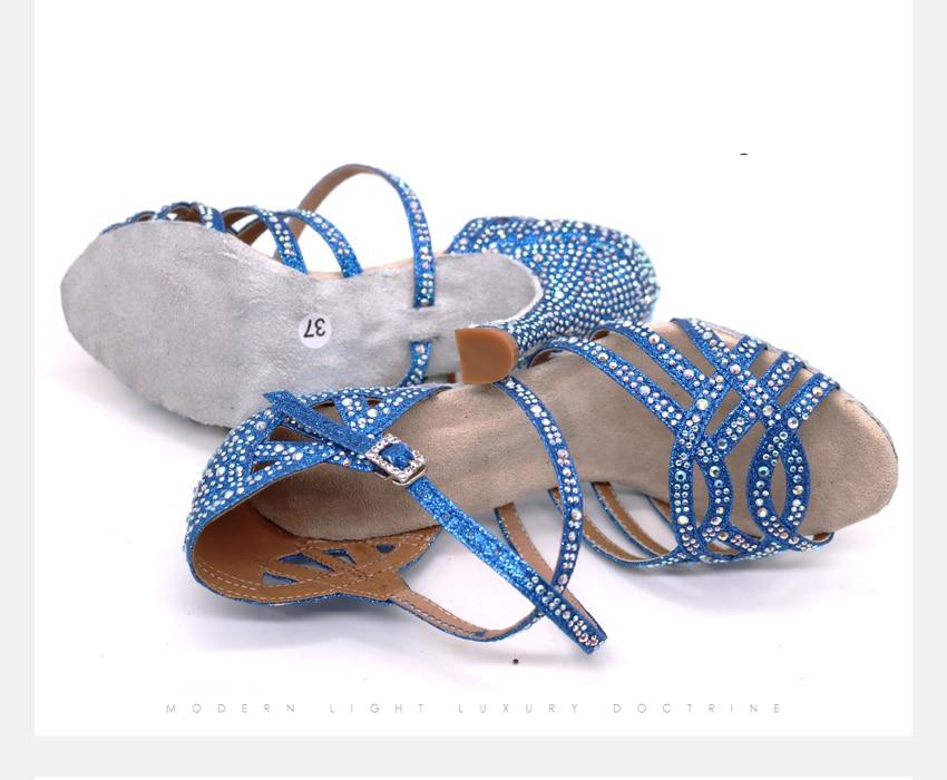 Wuxijiao prata azul strass sapatos de dança