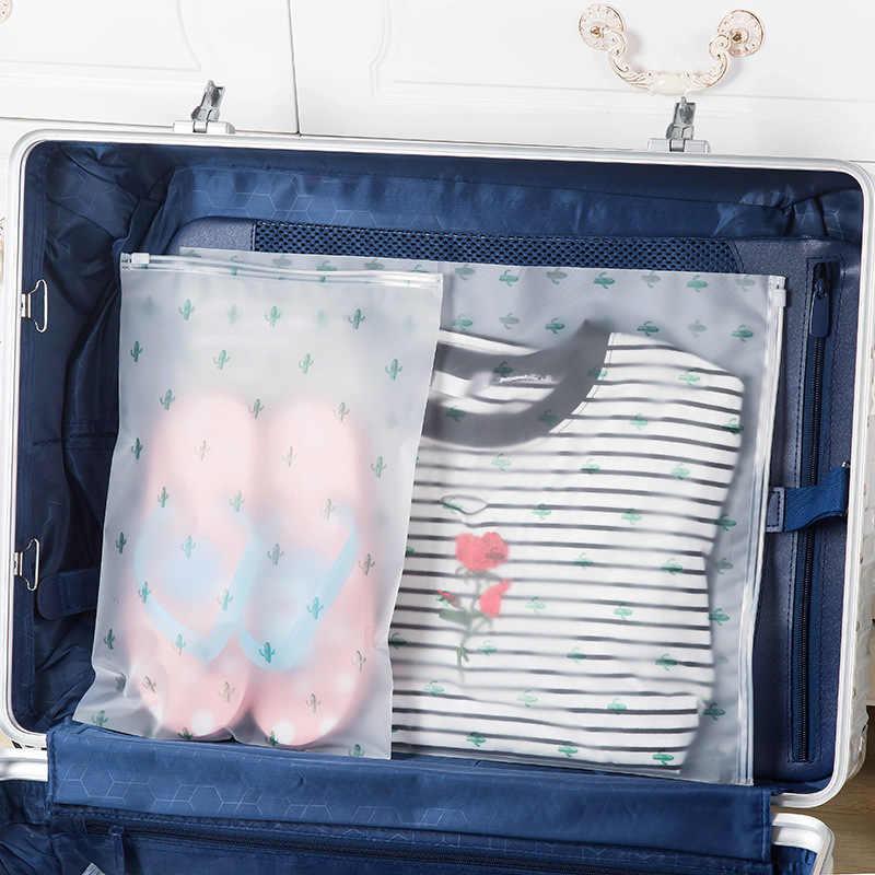 حقيبة لحفظ الأحذية مضادة للماء مع قفل الصبار السفر المنظم الأمتعة صندوق تخزين ملابس حقيبة شفافة مقاوم للماء حقيبة التخزين البلاستيكية