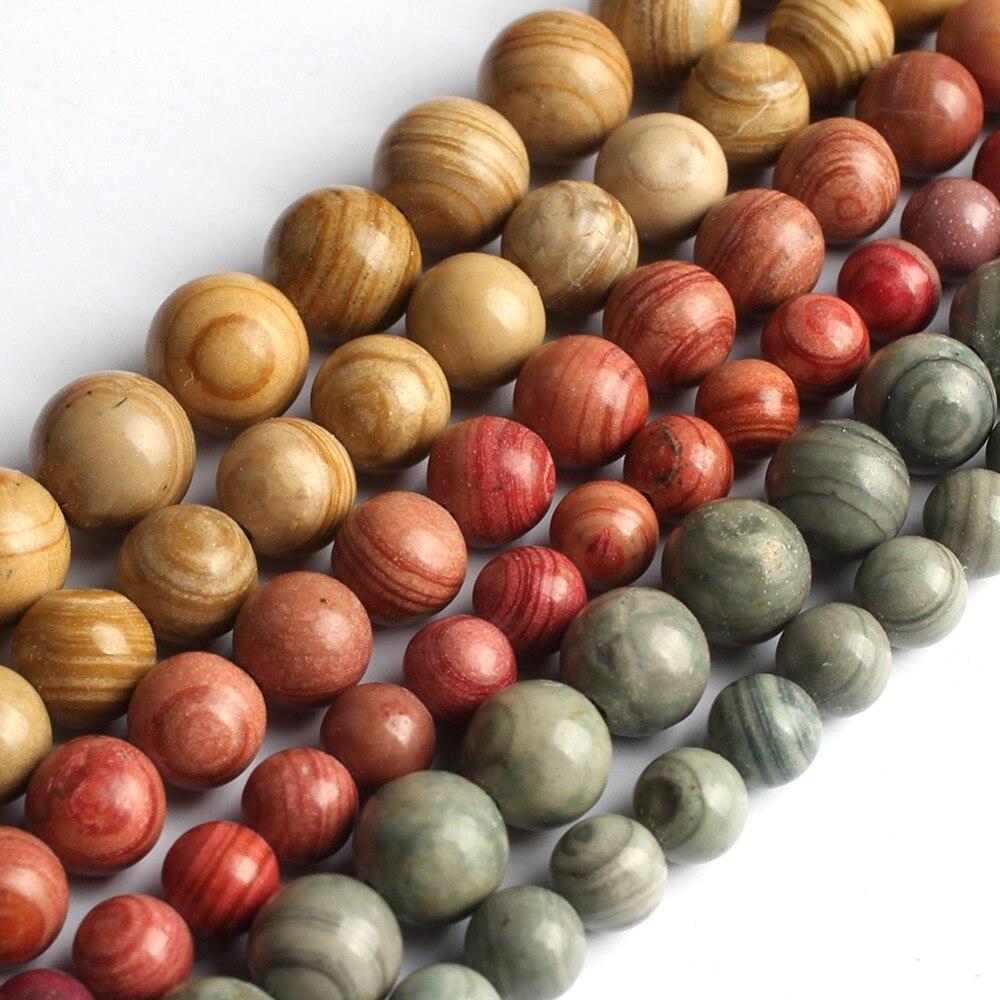 (6/8/mm) Rot Gelb Blau Stein Lose Perlen Schmuck Machen Perlen Für Armband Natürliche Serpeg Giante Diy Armband Halskette