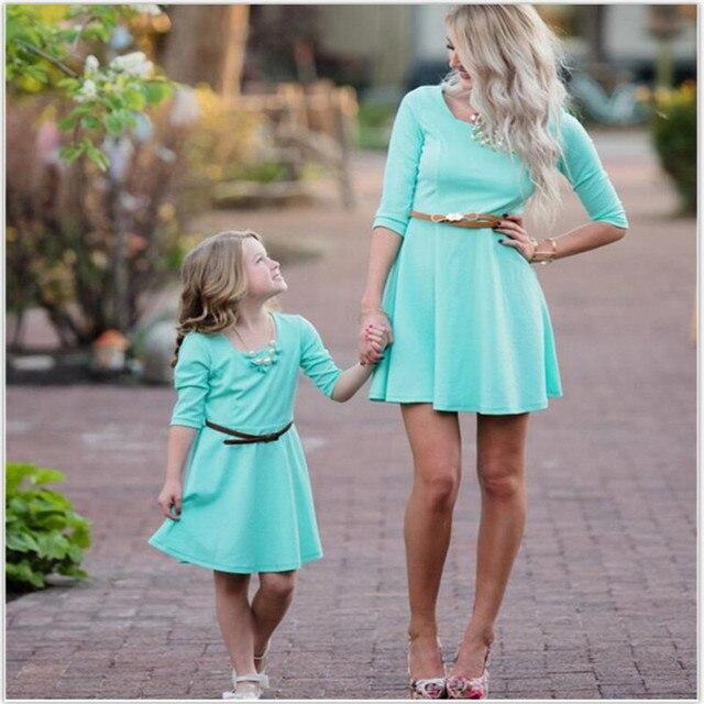 3e5d12bf945e LILIGIRL niños azul cielo vestidos para niñas madre hija vestido elegante  2019 nueva mamá y mi familia de ropa trajes
