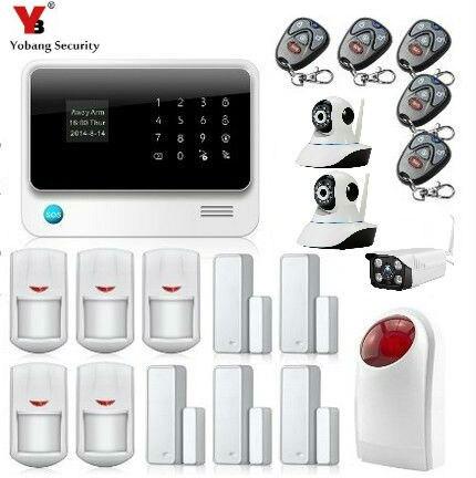 Yobang Security Password Key Wireless Wired GSM WIFI SMS Intelligent Burglar Inturder Home Security Alarm Kits+Waterproof Camera