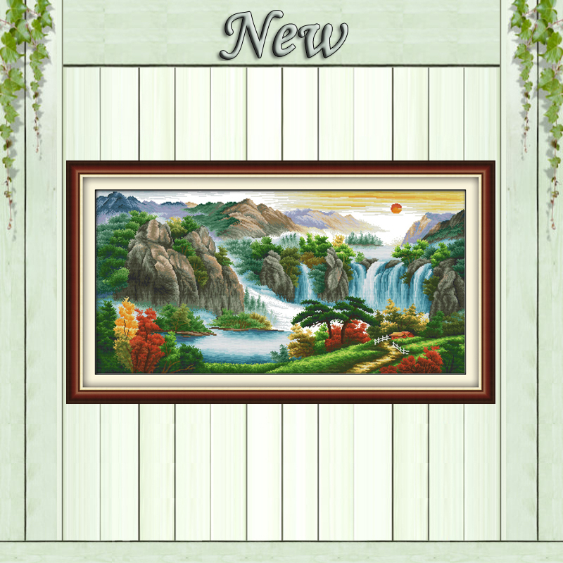 High mountains river sun mascot Counted print on fabric DMC 14CT 11CT DMS Embroidery Sets Cross Stitch Needlework kits paintings