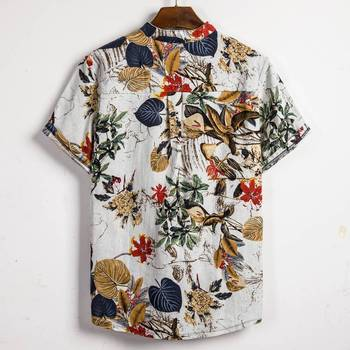 Summer Man Shirt Mens Ethnic Printed Stand Collar Cotton Linen Stripe Short Sleeve Loose Hawaiian Henley Shirt hawaiian shirt 2