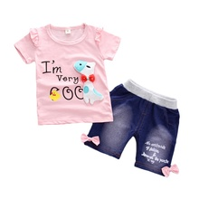 2Pcs Childrens Sets Summer Girls T-shirt Shorts Set Cute Cartoon Dogs Print Casual Denim Pant Clothes