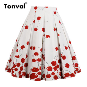 Image 4 - Tonval High Waist Floral Pleated Skirts Womens Summer Red Rose Flower Women Vintage Skirt Midi Plus Size 4XL Skirts