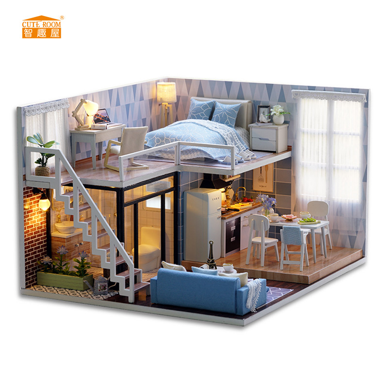 CUTE ROOM New arrival Miniature Wooden Doll House With DIY Furniture Fidget Toys For Kids Children Birthday Gift Blue Times L023 free shipping new arrival christmas birthday gift children play set cute dinning room doll accessories furniture for barbie doll
