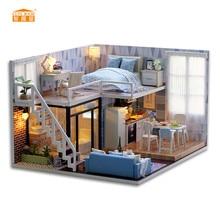 CUATRO HABITACIÓN Nueva llegada Miniatura casa de muñecas de madera con muebles de bricolaje Fidget juguetes para niños regalo de cumpleaños de niños Blue Times L023
