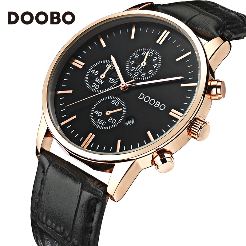 New DOOBO Watches Luxury Brand Men Watch Leather Fashion Quartz-Watch Casual Male Sports Wristwatch Date Clock Montre Homme mens watch top luxury brand fashion hollow clock male casual sport wristwatch men pirate skull style quartz watch reloj homber
