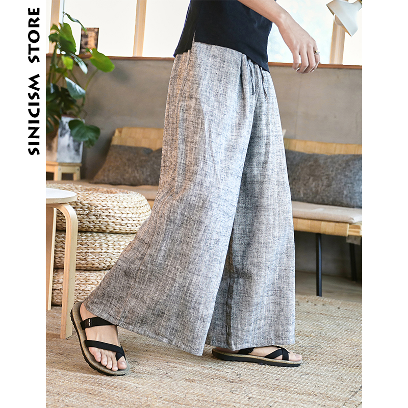 Sinicism Store Man Cotton Linen Wild Leg Pant Men Casual Stripe Straight Flare Trousers 2019 Male Traditional Pants Trousers