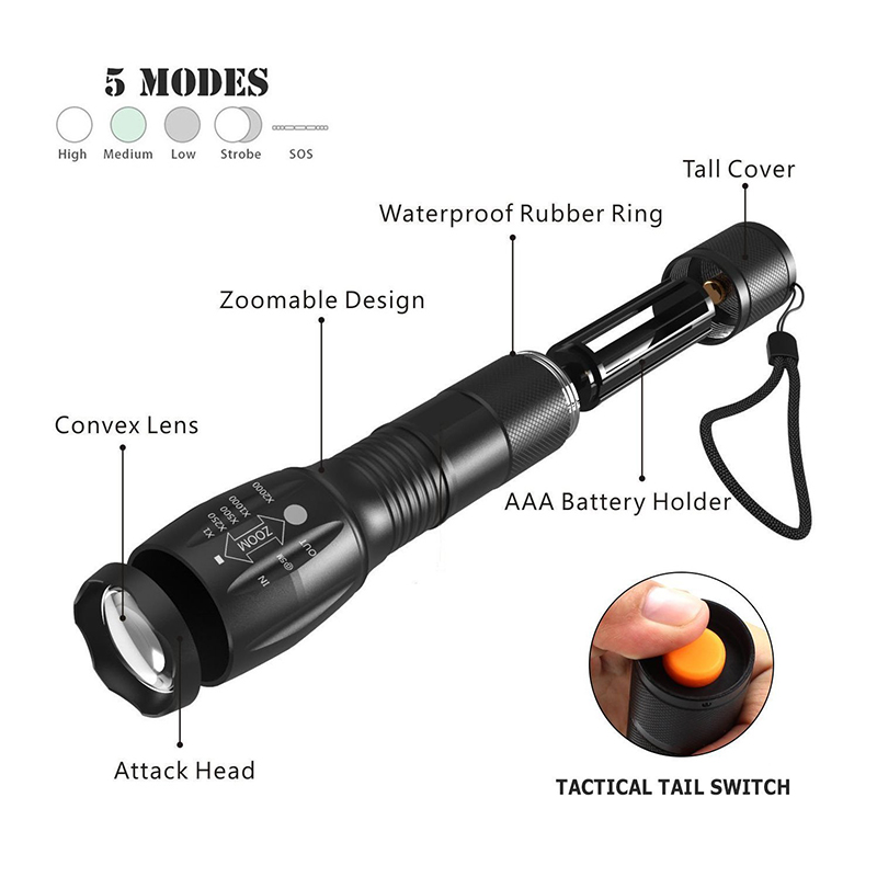 2PCS PANYUE Led Flashlight XML T6 Lantern Torch 1000 Lumens Outdoor Camping Powerful Tactical Led Flashlight Torch Waterproof in LED Flashlights from Lights Lighting