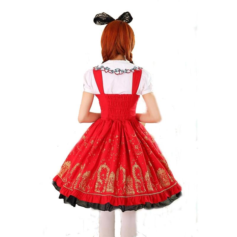 Été rouge Doux Noir Coton Vente Nouvelle Noir Pour Femmes blanc Robe Blanc Élégant Bleu Et 2017 En bleu Rouge Lolita Princesse Rolecos nRqFTfR