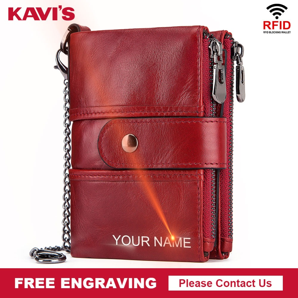 KAVIS Rfid Genuine Leather Free Engraving Quality Wallet Women Crazy Horse Wallets Coin Purse Short Male Mini Money Bag GirlsKAVIS Rfid Genuine Leather Free Engraving Quality Wallet Women Crazy Horse Wallets Coin Purse Short Male Mini Money Bag Girls