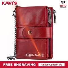 b9ca12c24d7 KAVIS Rfid en cuir véritable gravure gratuite qualité portefeuille femmes  Crazy Horse portefeuilles porte-monnaie