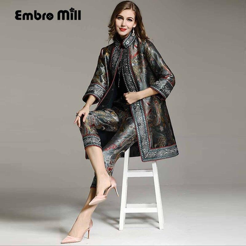 Estilo chinês High-end outono inverno mulheres Terno floral rayon casaco frouxo do vintage + calças Jacquard 2 peças senhora conjunto feminino M-XXL