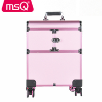 MSQ Make up Tools For Handle Trolley Large Professional Cosmetic Case Multilayer Large Capacity Caster Professional Storage Box