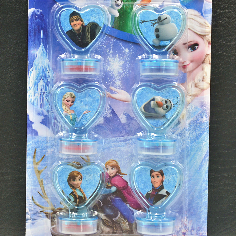 6Pcs Set Frozen Seal Anna and Elsa Disney Stamper Children DIY Diary Decorative Painting Scrapbooking Decoration Frozen Gift in Party Favors from Home Garden