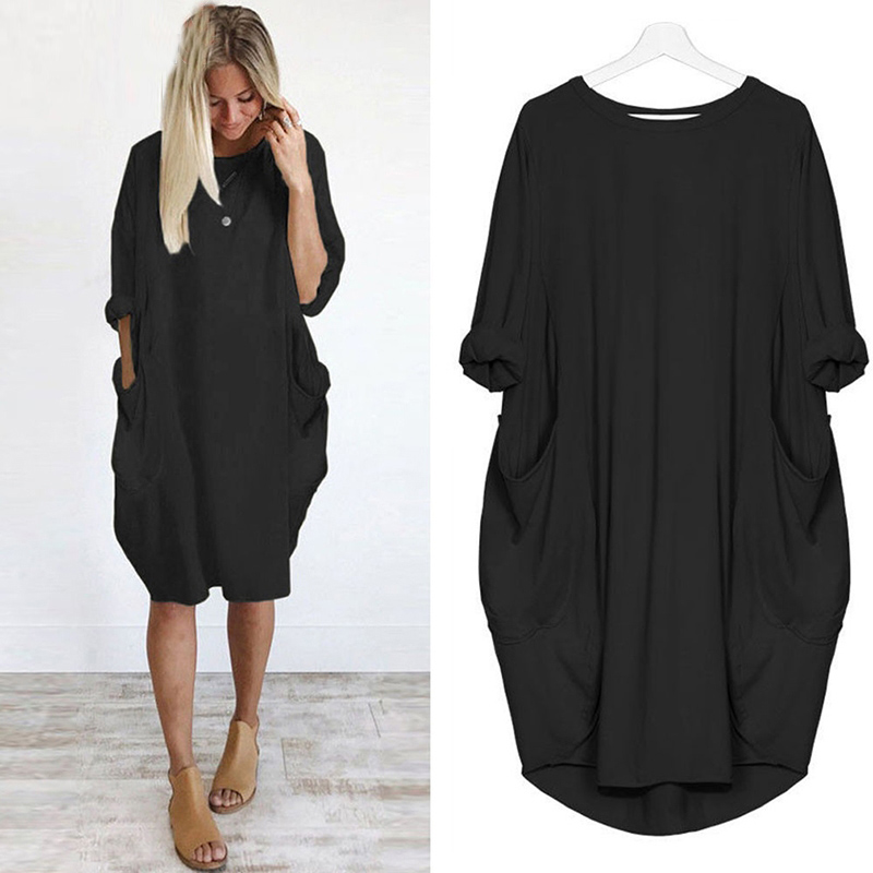 Bigsweety Plus Size Dresses For Women Casual Loose Half Sleeve Crew Neck Dress Ladies Oversized Dress Beach Dresses With Pocket