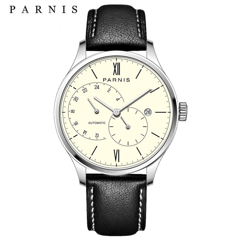 Nouvelle Arrivée 2018 Chaude Parnis Automatique Montre Hommes Ultra Mince Maille En Acier Bande Bracelet En Cuir Hommes Mécanique Montres horloge mannen