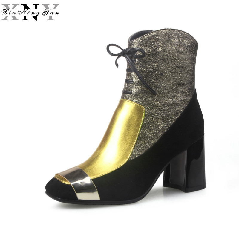 XiuNingYan 2019 New Fashion Sexy Womens Ankle Boots Genuine Leather High Heels Punk Platform Women Autumn Boots Ladies ShoesXiuNingYan 2019 New Fashion Sexy Womens Ankle Boots Genuine Leather High Heels Punk Platform Women Autumn Boots Ladies Shoes