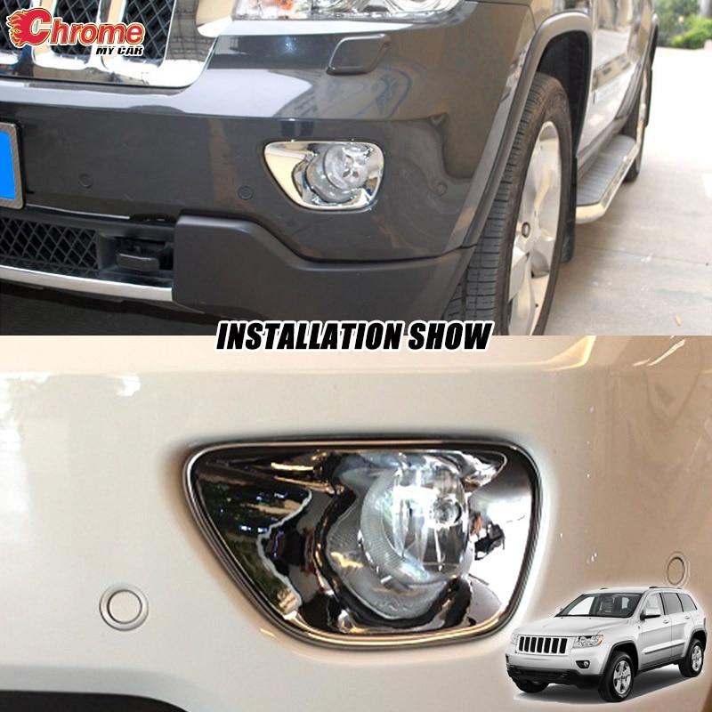 2Pcs Fog Lamp Light Bezel Cover Chrome Fits Jeep Grand Cherokee 2011 to 2013 New