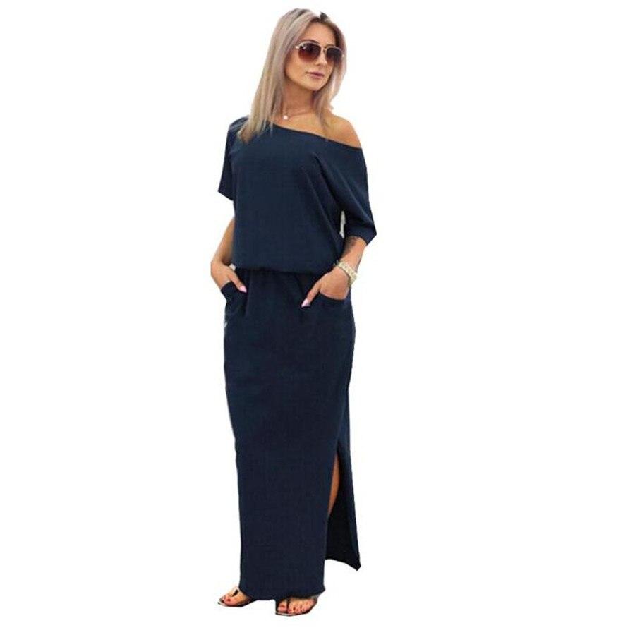 2018 moda verano vestidos mujeres Boho vestido largo Maxi sólido manga corta lado partido flojo Vestido de playa vestido