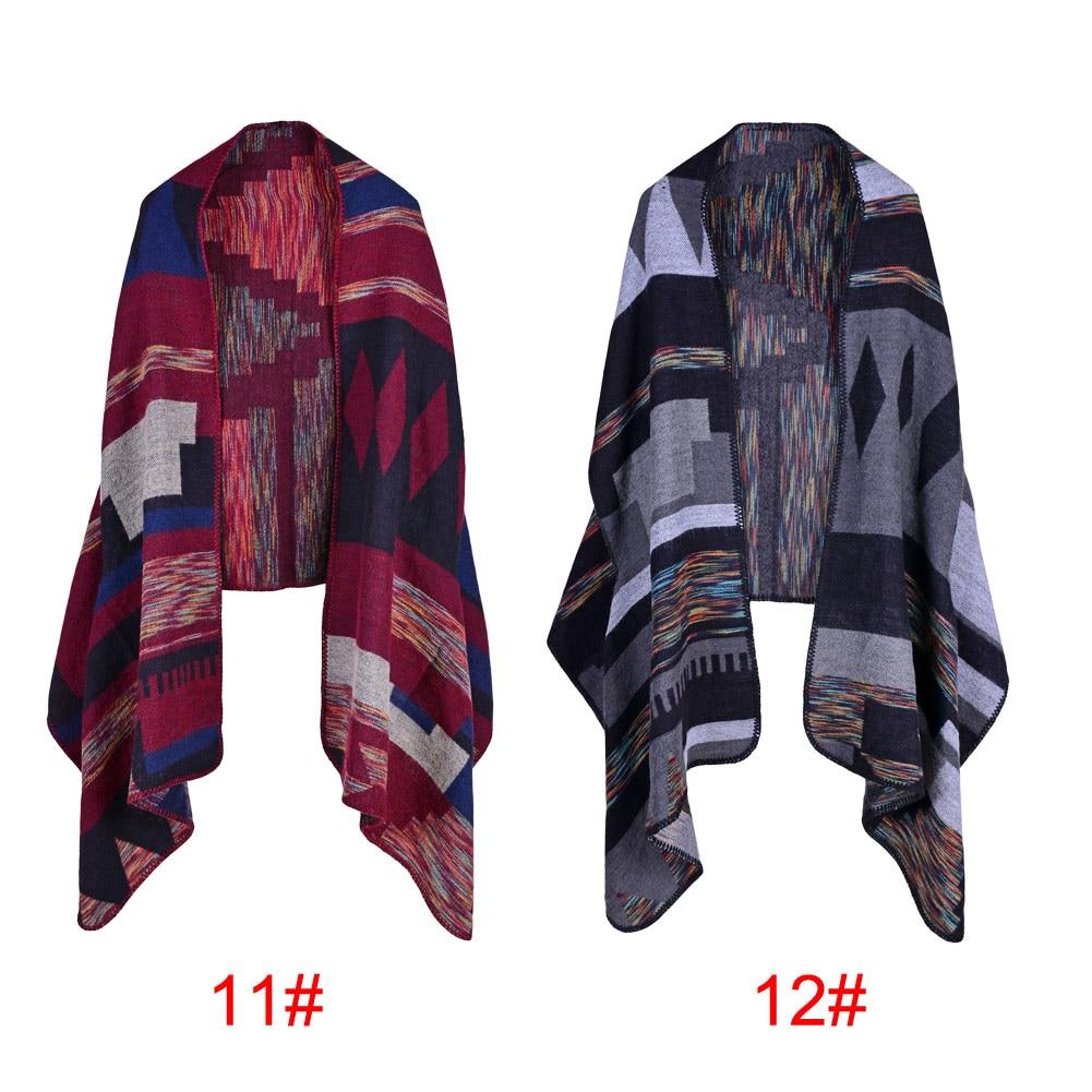5f3c8a21a7c Vintage Women Faux Cashmere Knitted Poncho Shawl Cardigan Outwear Geometric  Pattern Oversized Long Bohemia Cape Echarpe Femme