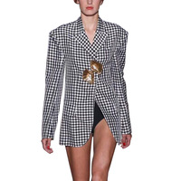 New Fashionable retro hot small delicate cutting metal shells coat black white plaid MR178