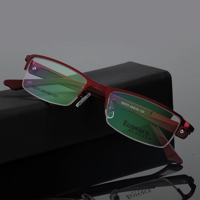 Mulher fundo fundo de assuntos de negócios titanium liga metade do quadro óptica óculos de miopia presbiopia hipermetropia frame de espetáculos xs 372
