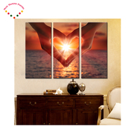 3 Pieces Heart Shape Gesture Sunset Seaview on Canvas Wall Art diamond Painting cross stitch for Living Room Home Decor