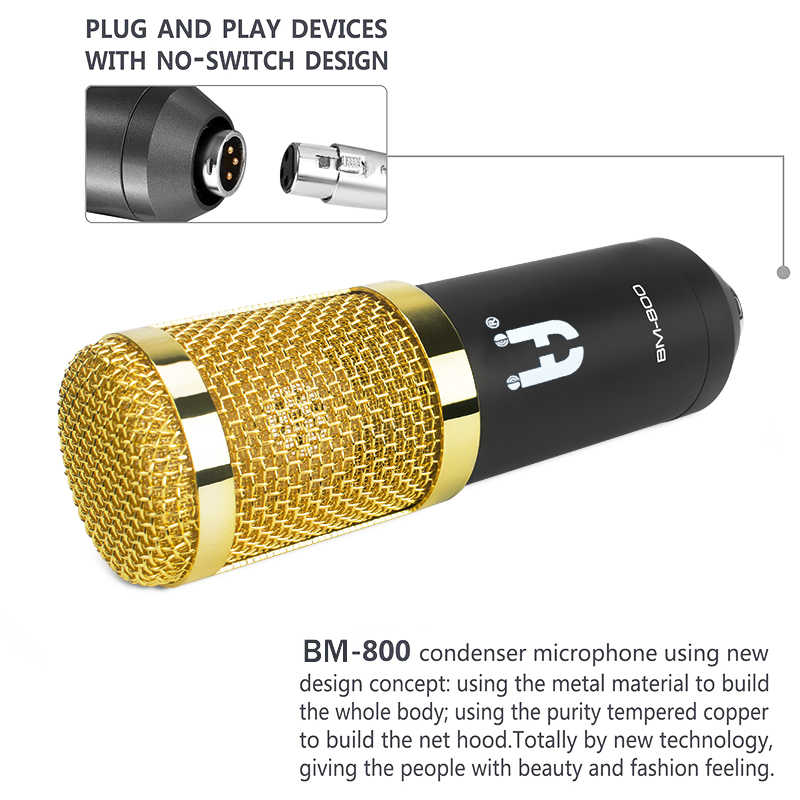 Ituf Professional Condenser Microphone for computer bm 800 Audio Studio Vocal Recording Mic KTV Karaoke + Microphone stand + USB