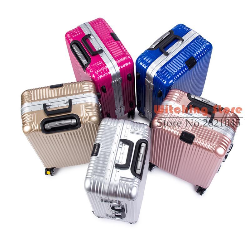 20 INCH  2022242628# Aluminum frame rose gold rod universal wheel 20 board box 24 suitcase luggage gift #EC FREE SHIPPING 24 inch 20242629 direct aluminum frame rod universal wheel luggage suitcase board box bags and one generation ec