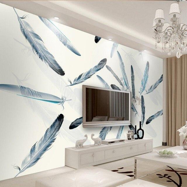 Individuelle Fototapeten Skandinavischen Feder Hintergrund Wandbild  Wohnzimmer Schlafzimmer Galerie Tapete Hotel Benutzerdefinierten Wandbild