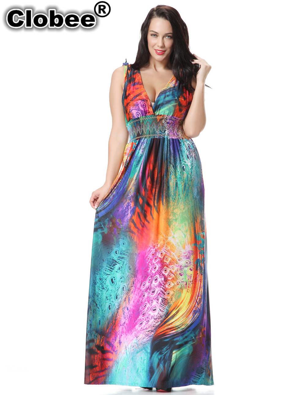 Boho 2019 Women Summer Boho Holiday Beach Dress Plus Size 7XL Printed Long Maxi Dress Elbise Robe ete Jurk Robe Longue chemise