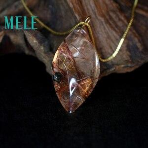 Image 3 - טבעי גן קריסטל אמיתי 18 k זהב תליון לנשים וגבר, אדום צבע מים drop צורת ghost hairstone תכשיטים