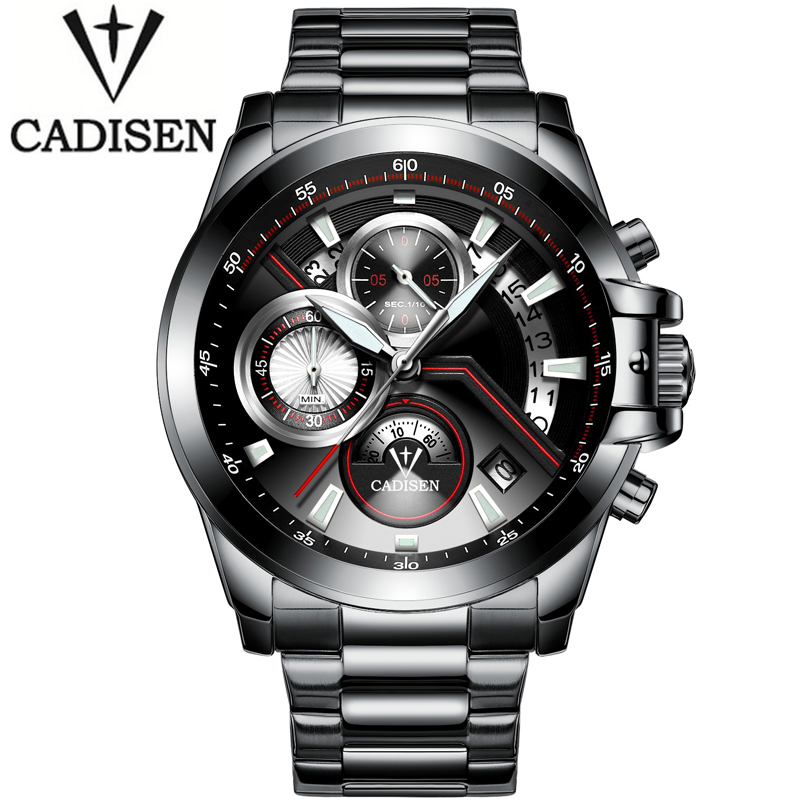 2016 Luxury Brand Cadisen Quartz casual Watches Men analog chronograph Clock Sport Military Stainless steel Fashion Wrist Watch 2016 military watch men stainless steel leather band analog quartz clock wrist watch fashion luxury top brand clock quality gift