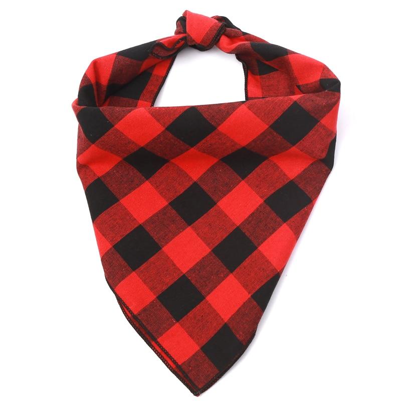 Cuadrado personalizado rojo y negro Buffalo Plaid perro Bandana algodón franela perro bufanda accesorios para mascotas plaid
