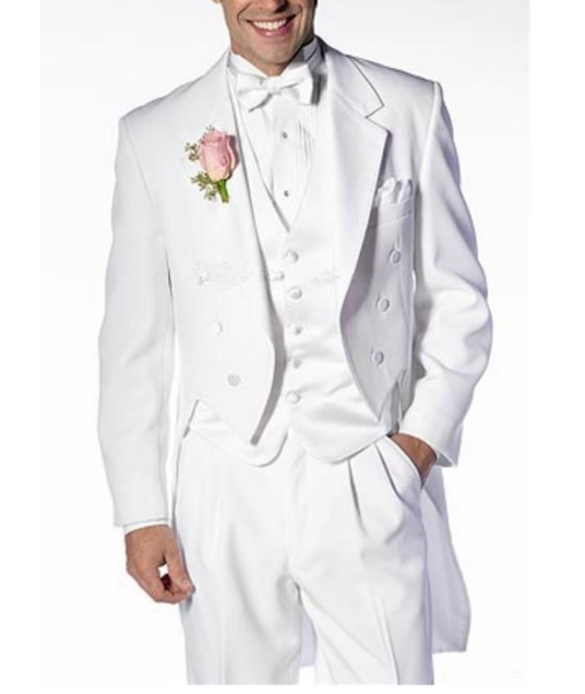 Italian Men Tailcoat Gray Black White Wedding Suits For Men Groomsmen Suits 3 Pieces Peaked Lapel Groom Wedding Dress Men Suits