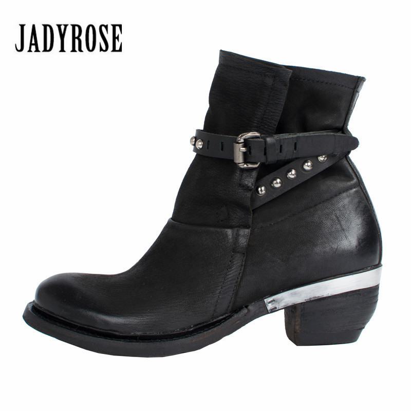 Jady Rose Ankle Boots for Women Genuine Leather Straps High Heel Boots Rubber Shoes Woman Platform Martin Autumn Winter Boot bottes femmes 2017 autumn fashion martin boots leather shoes woman platform square medium heel ankle boots for women plus size