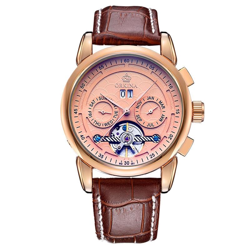 ORKINA Auto Date Tourbillon Clock Mens Automatic Skeleton Wristwatch Mechanical Relogio Male Erkek Saat Rose Gold Watch все цены