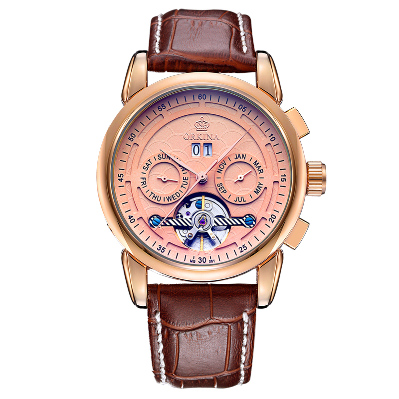 ORKINA Auto Date Tourbillon Clock Mens Automatic Skeleton Wristwatch Mechanical Relogio Male Erkek Saat Rose Gold Watch