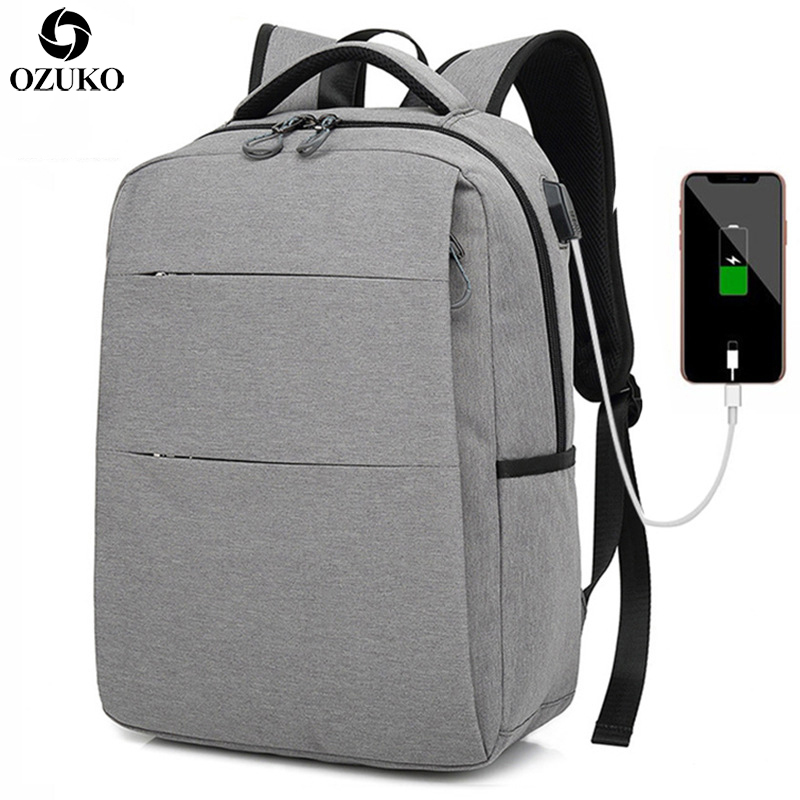 OZUKO Unisex Design Backpack School Bags for teenager Men Women Student School Backpack USB Charging Laptop Business Backpacks